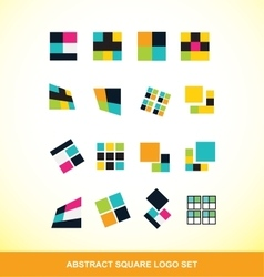 Abstract square logo icon set vector
