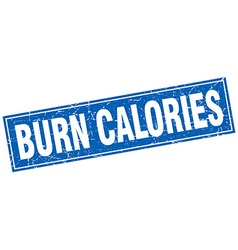Burn calories blue square grunge stamp on white vector