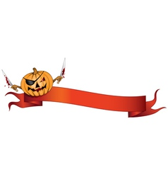 pirate pumpkin halloween banner vector image