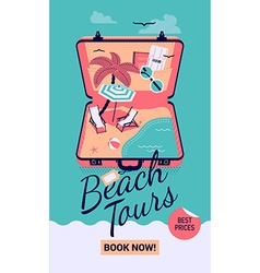 Beach tours promotional poster vector