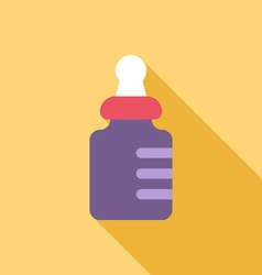 Baby bottle colored flat on yellow background with vector