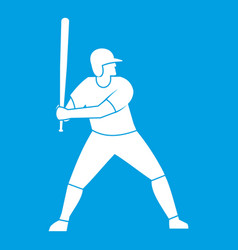 Baseball player with bat icon white vector