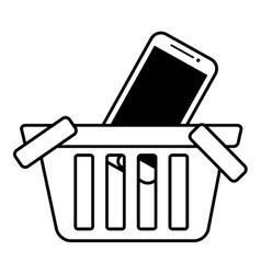Basket buy online smartphone commerce outline vector