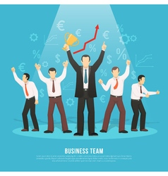 Business team success flat poster vector