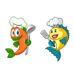 Cartoon chef fish characters vector image