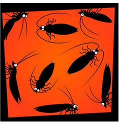 cartoon cockroaches silhouettes vector image vector image