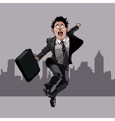 cartoon man in a suit with a tie and a briefcase vector image vector image