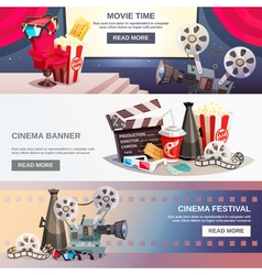Cinematography flat horizontal banners vector