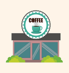Coffee shop marketing building vector