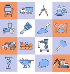 Construction icons set flat line vector