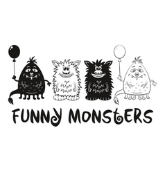 Contour and Silhouette Monsters Set vector image vector image