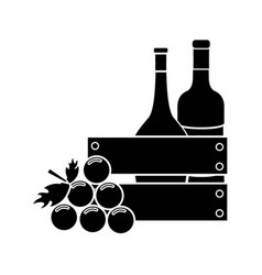 Contour bottles wine and grape icon vector