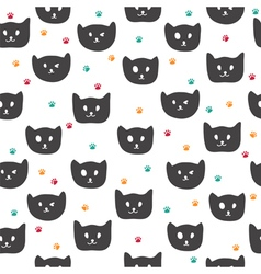 Cute seamless pattern with black cats vector image vector image