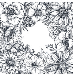 Floral frame with hand drawn spring flowers and vector