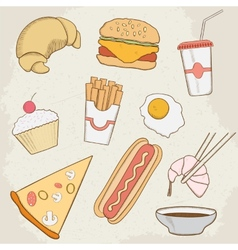 Food and Drink Hand Drawn Icons vector image vector image