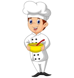 Funny chef cartoon bring bowl vector