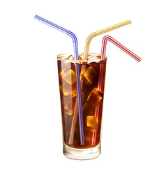 Glass and straws realistic vector