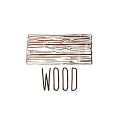 Hand drawn logo with wood desk vector