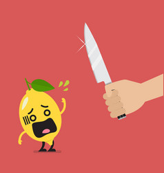 Hand with a knife prepare to cut shocked lemon vector