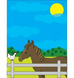 horse and chicken vector image