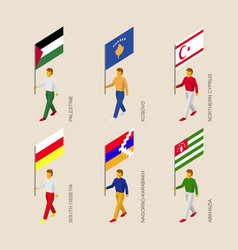 isometric people with flags vector image vector image