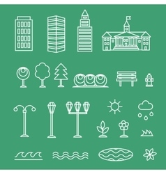 Linear landscape icons line style - trees vector
