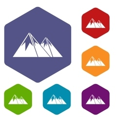 Mountains with snow icons set vector