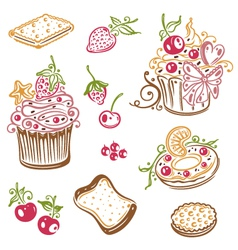 Muffins donuts cakes sweets vector
