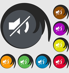 Mute speaker sign icon Sound symbol Symbols on vector image vector image