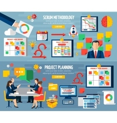 Scrum agile 2 flat banners set vector