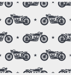 Seamless pattern motorcycle silhouette vector