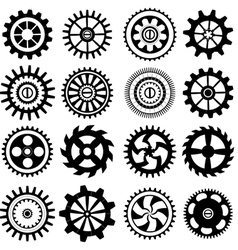 Set of black gears vector