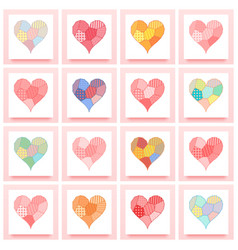 Set of patchwork heart vector