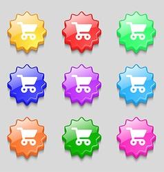 shopping basket icon sign symbol on nine wavy vector image
