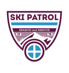 Ski patrol search and rescue label vector