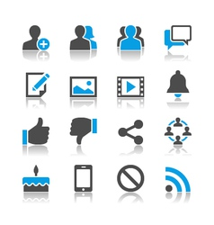 Social network icons reflection vector image vector image