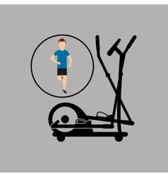 Sport man running elliptical trainer vector