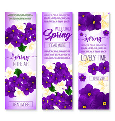 Spring flower welcome banner set design vector