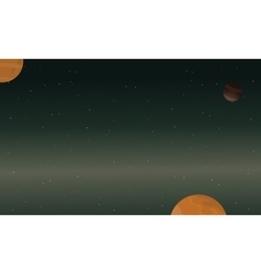 Starry and planet space of landscape vector