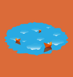 Three paper boat in the water with clouds vector