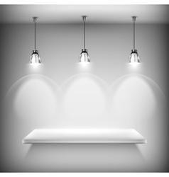 White empty shelf illuminated by spotlights vector