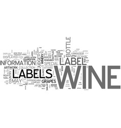 Wine labels explained text word cloud concept vector