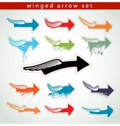 winged arrows vector image vector image