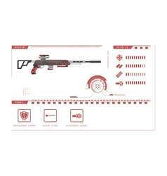 Details of gun sniper rifle game perks vector