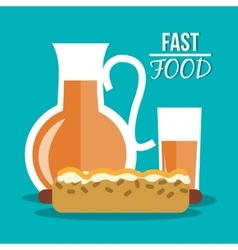 Hot dog juice and fast food design vector