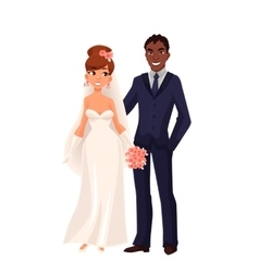 Caucasian bride and African groom just married vector image