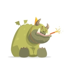 Giant green monster in party hat sitting vector