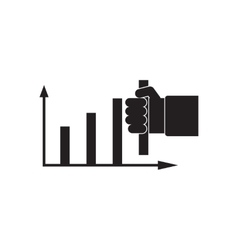 Flat icon in black and white hand graph vector image