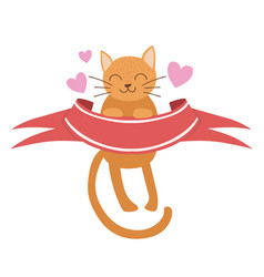 cat holding red ribbon sticker template st vector image