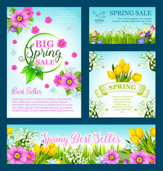 Spring shopping sale flowers vector